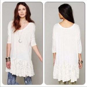 Free People Beach Ivory Ruffle Lace Tunic Oversize